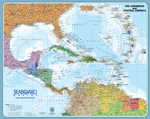 The Caribbean The Central America Political Map