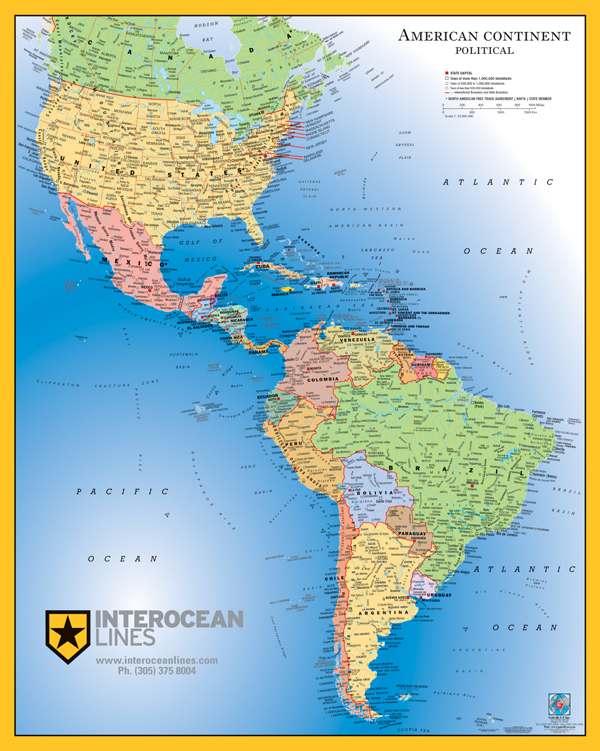 Map Of North America And South America My Blog