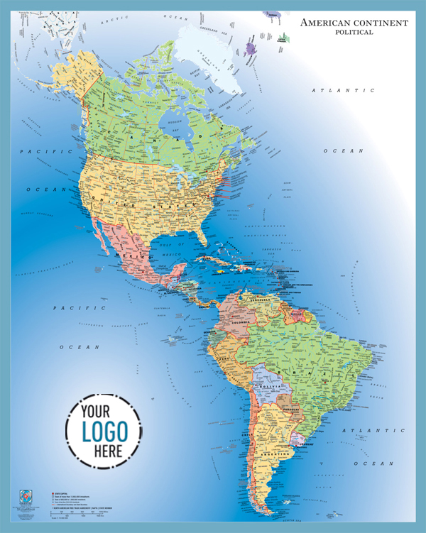 Political Map Of North And South America America Map