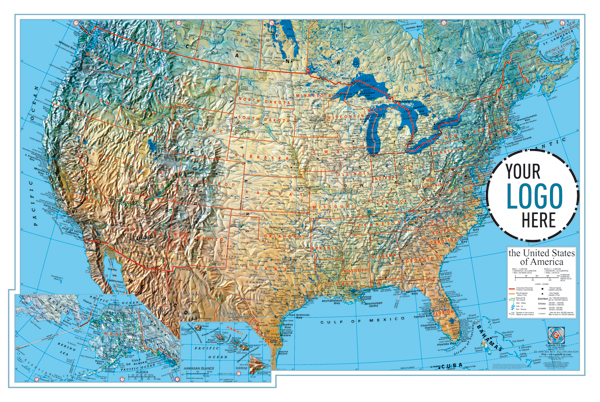 GABELLI US INC V - United states of america physical map