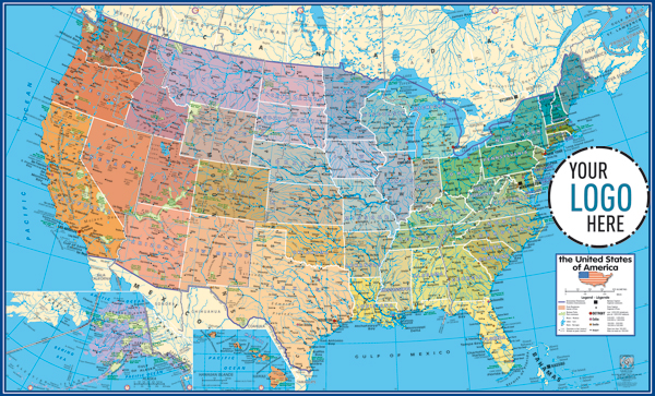 united states physical and political map Gabelli Us Inc V3 2013